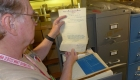 Examining an AFE file at the vast GNRHS Archives at Jackson Street Roundhouse
