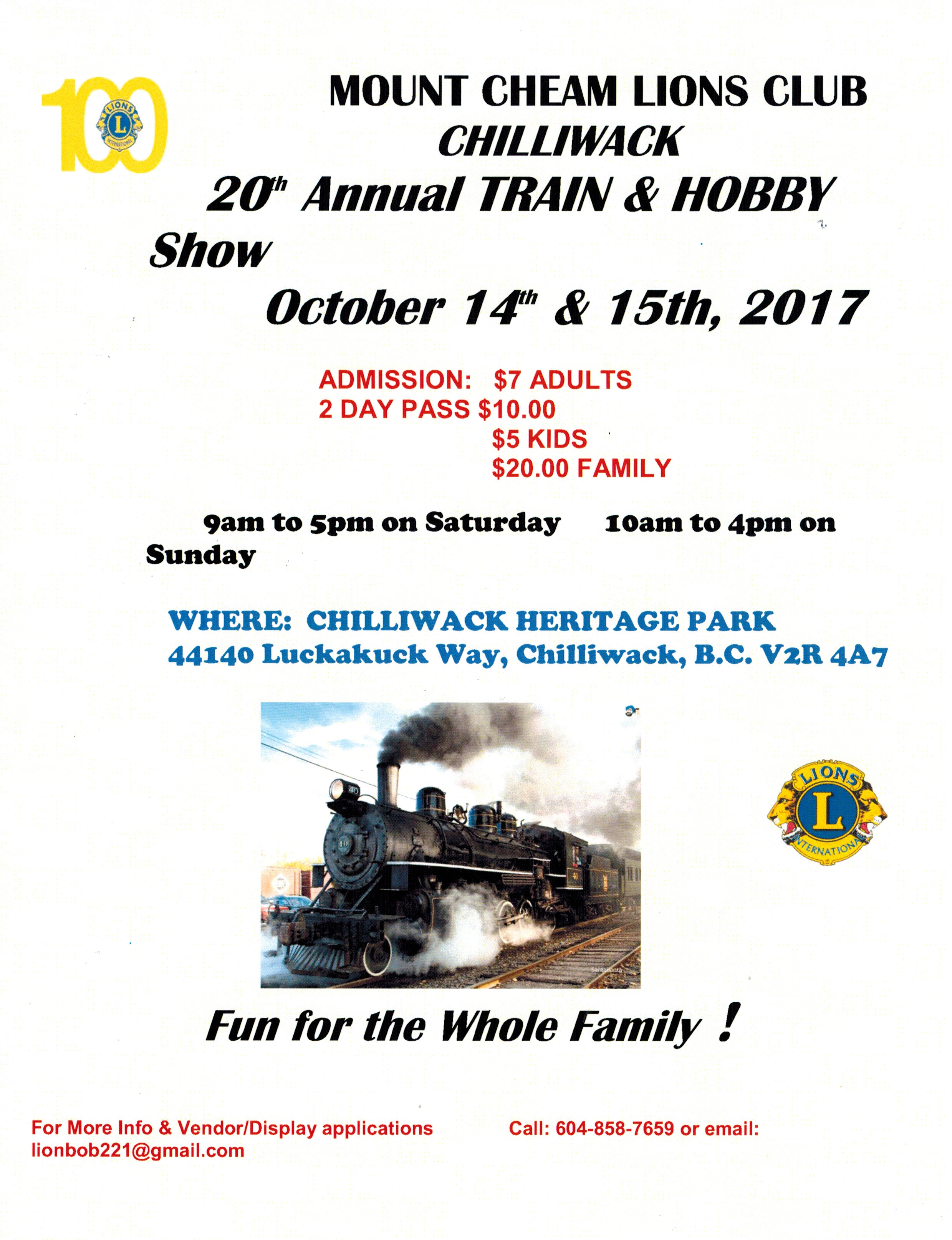 GNRHS at Mt. Cheam Lions Club Train and Hobby Show in Chilliwack, BC